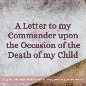 """Close-up on a white envelope sitting on top of a yellowed handwritten letter. The envelope looks weathered. The words, """"A Letter to my Commander upon the Occasion of the Death of my Child"""" are superimposed on top of the image (Vlana, Getty Images)"""