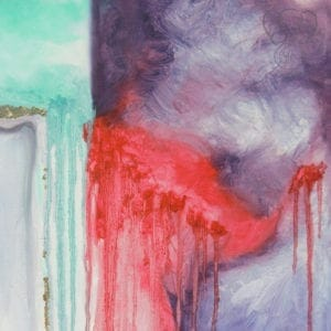 """Photo of original artwork created by Katy Martin to illustrate """"29 June 2017"""" - artwork implies a mama elephant with her trunk wrapped around a baby. The colors of the artwork are bright and cheery on the left side of the painting, abruptly shifting to dark and painful on the right"""