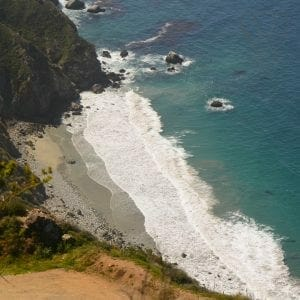 View from cliffs on the California coast