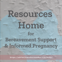 Title: Resources Home for Bereavement Support & Informed Pregnancy | overlaid over an image of street art in Victoria, British Columbia