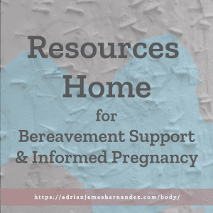 Title: Resources Home for Bereavement Support & Informed Pregnancy   overlaid over an image of street art in Victoria, British Columbia