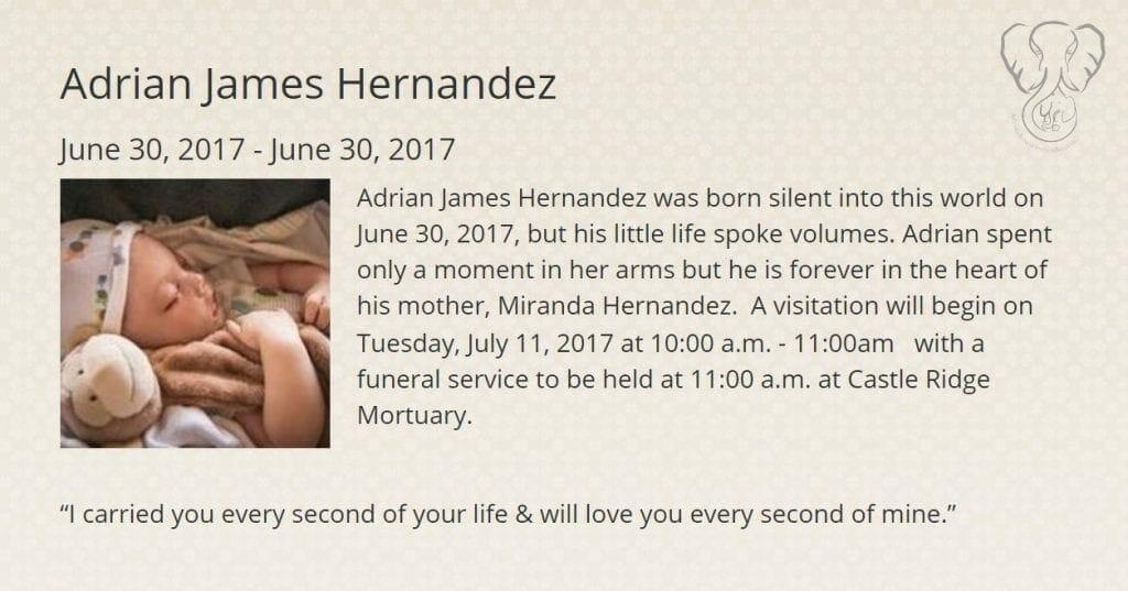 Adrian's obituary