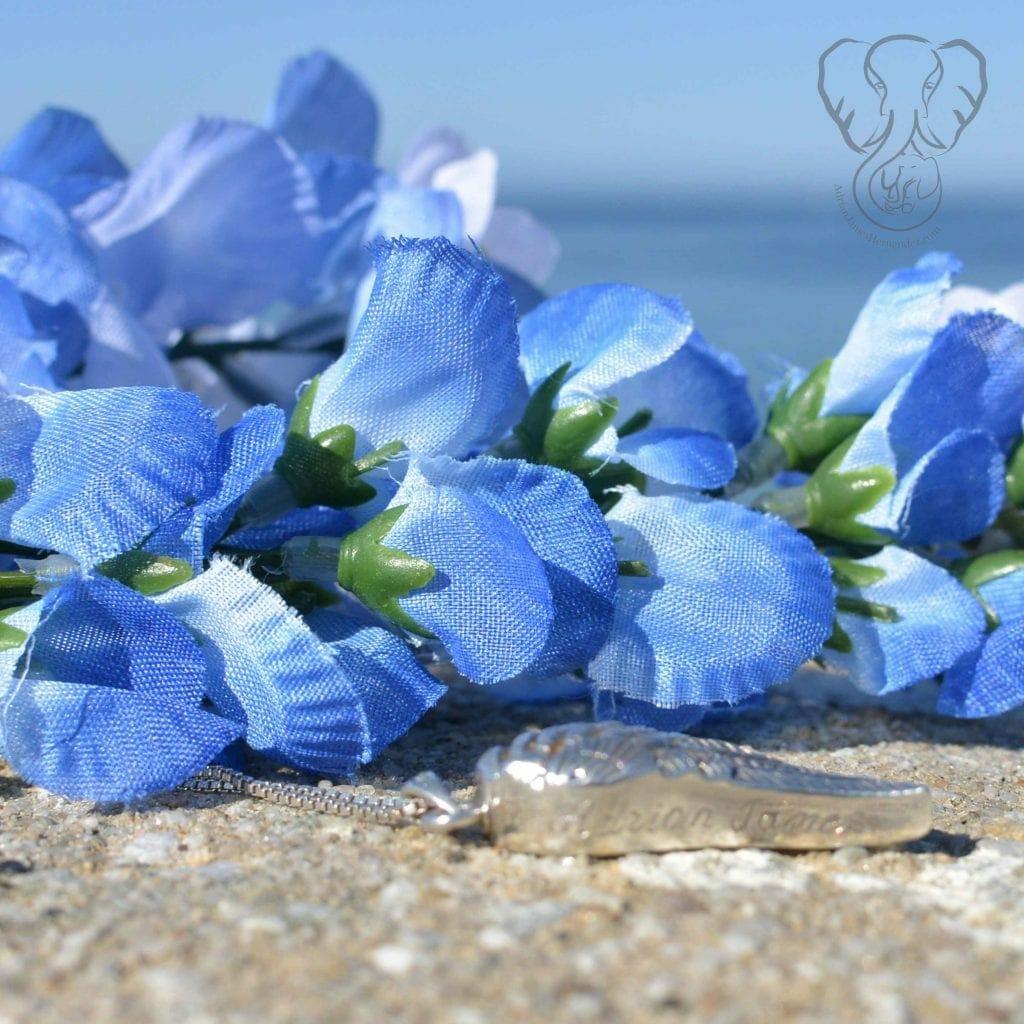 Adrian's necklace on bluebonnets, California coast (Miranda Hernandez)