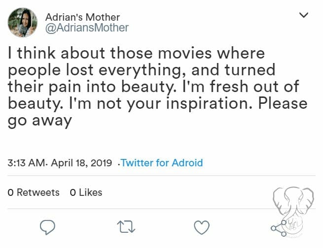 Tweet: I think about those movies where people lost everything, and turned their pain into beauty. I'm fresh out of beauty. I'm not your inspiration. Please go away - The Worst Thing that Never Happened