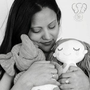 Miranda with Adrian's Elephant and Peanut's Mermaid (4th Trimester Bodies Project)