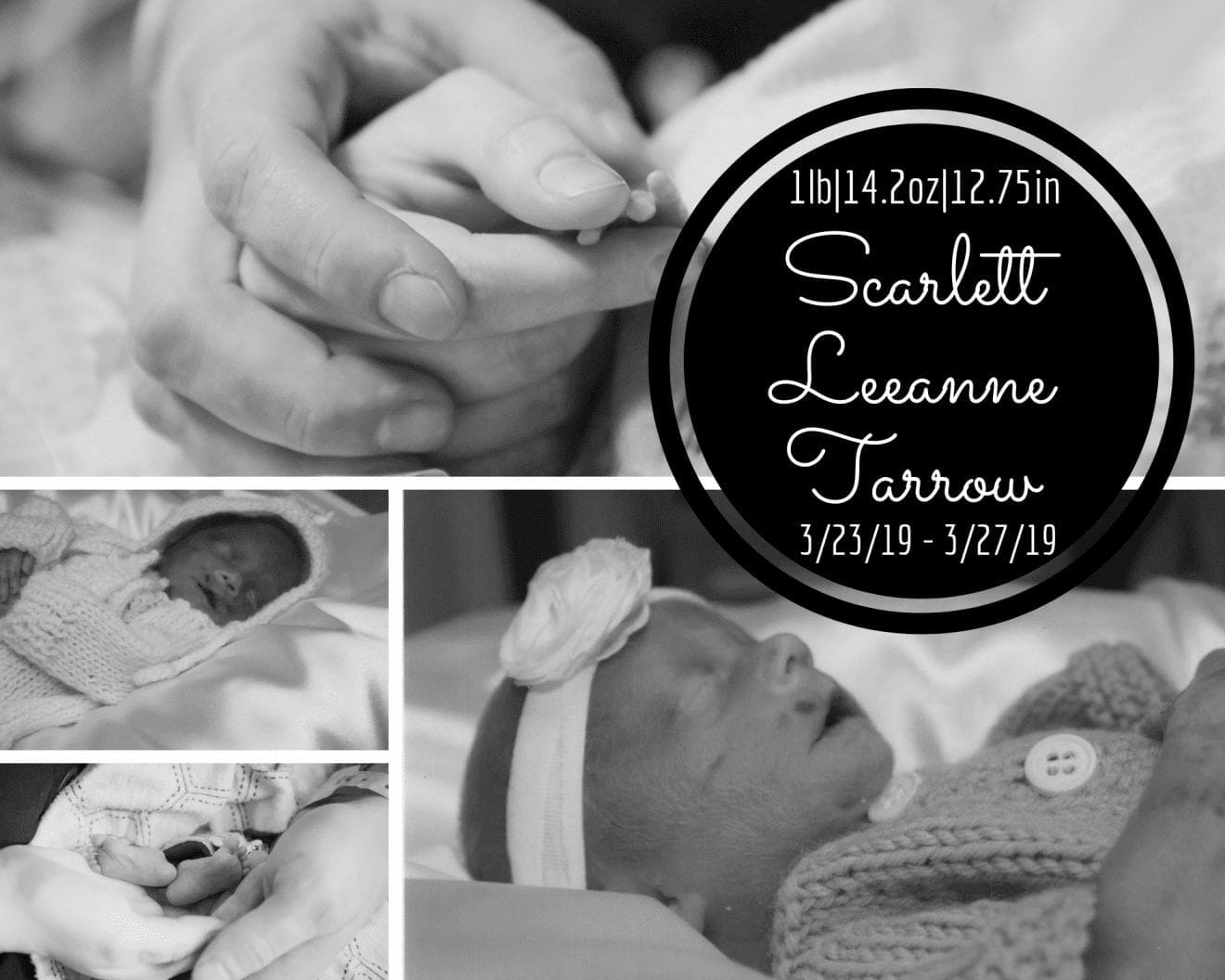 Example of graphics Scarlett's mother Jillian creates for other bereaved parents