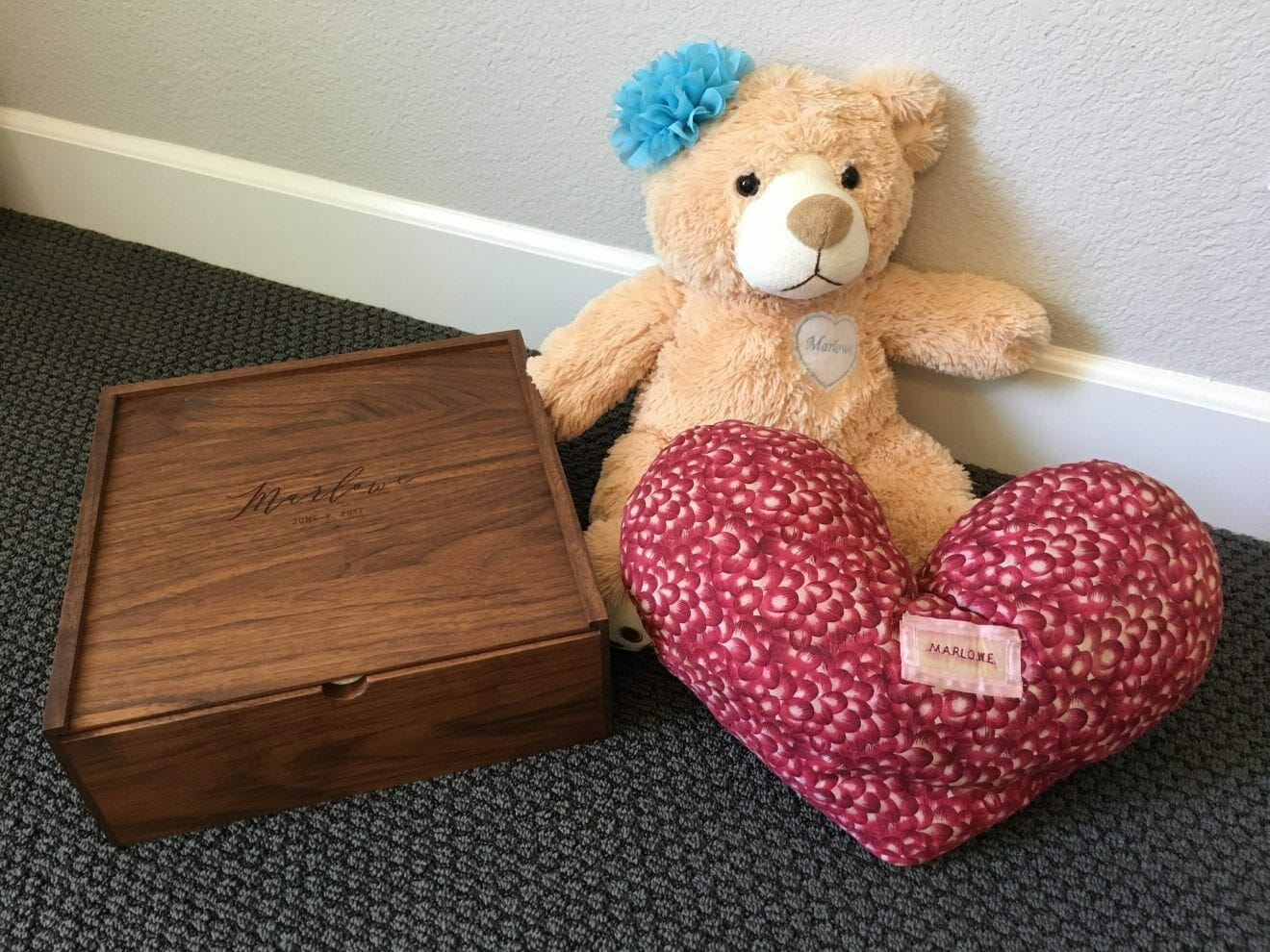 Card box and stats pillow in honor of Marlowe, contributed by mother Bethany