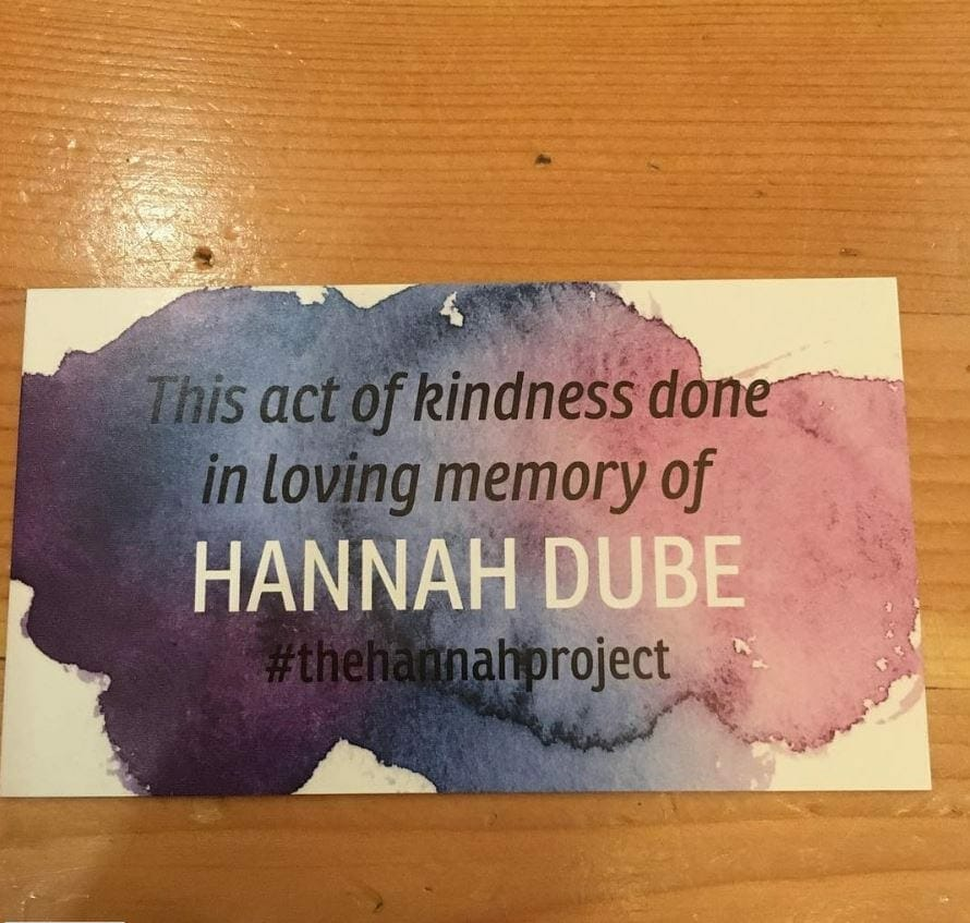 Act of kindness card honoring Hannah, contributed by mother Sarah