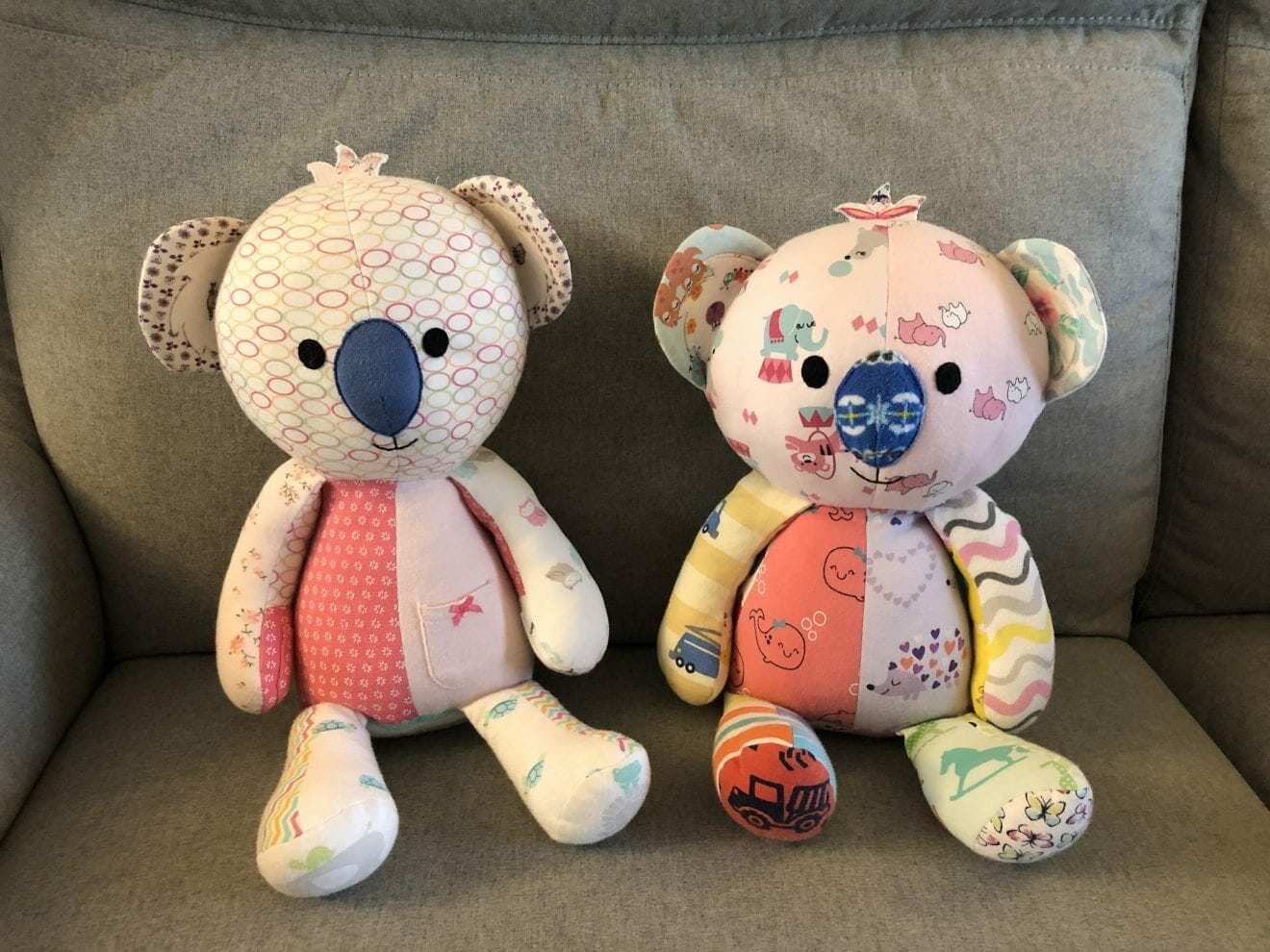 Elianna and Eli-Grace's mother Esther made these bears from their sleepers