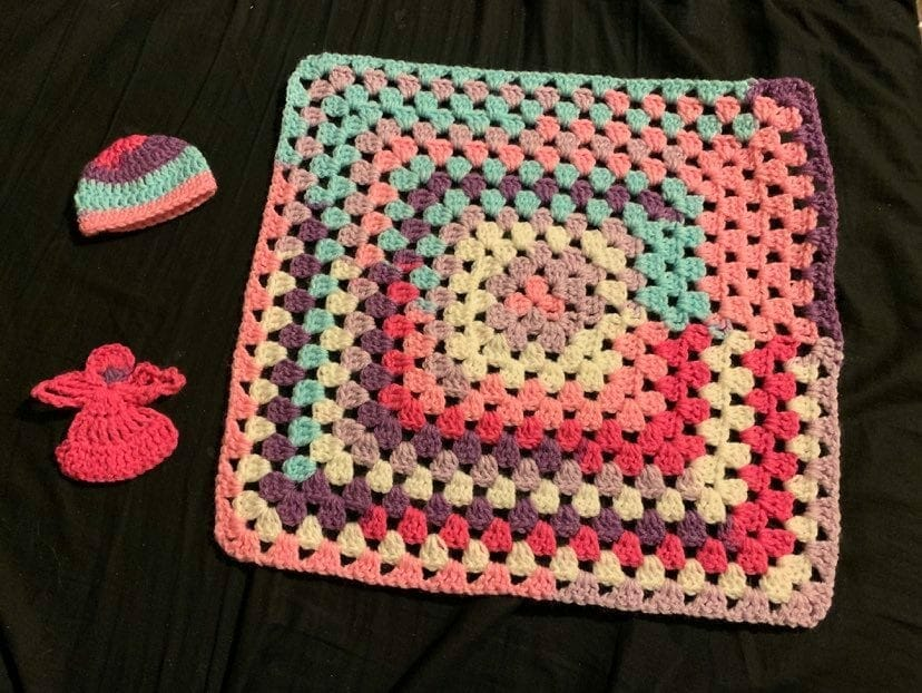 Crocheted items for donation, contributed by Declan & Devlan's mother Marsha