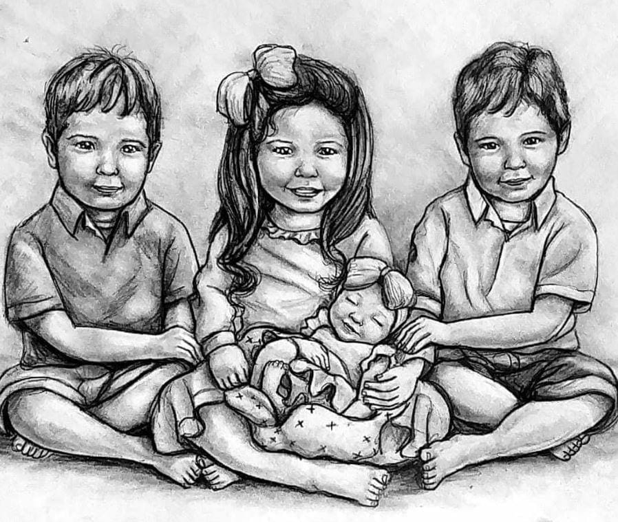 Commissioned portrait of Hannah and her siblings, contributed by mother Sarah