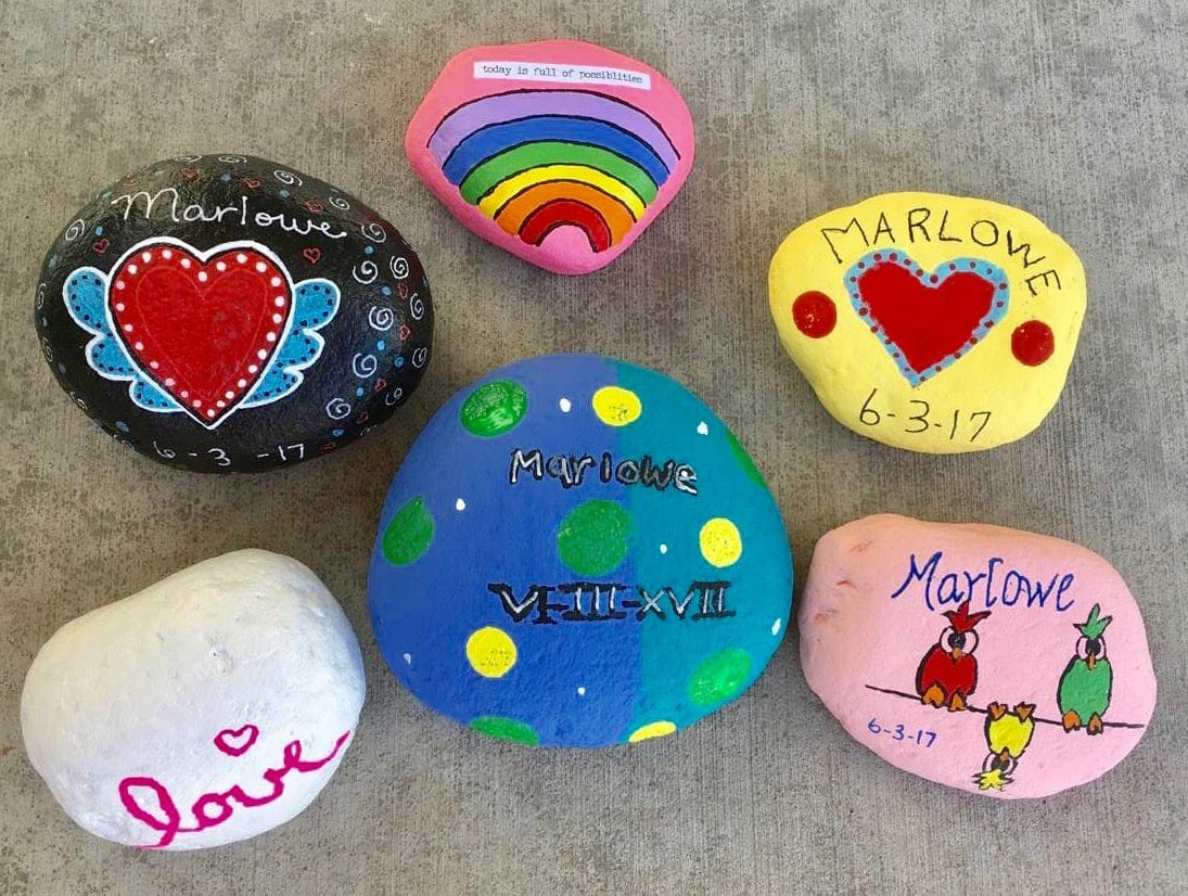 Painted Rocks for Marlowe, contributed by mother Bethany