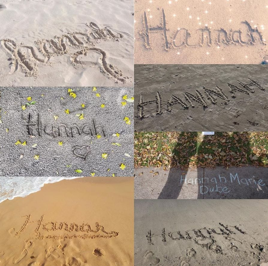 Hannah's name in the sand, contributed by mother Sarah