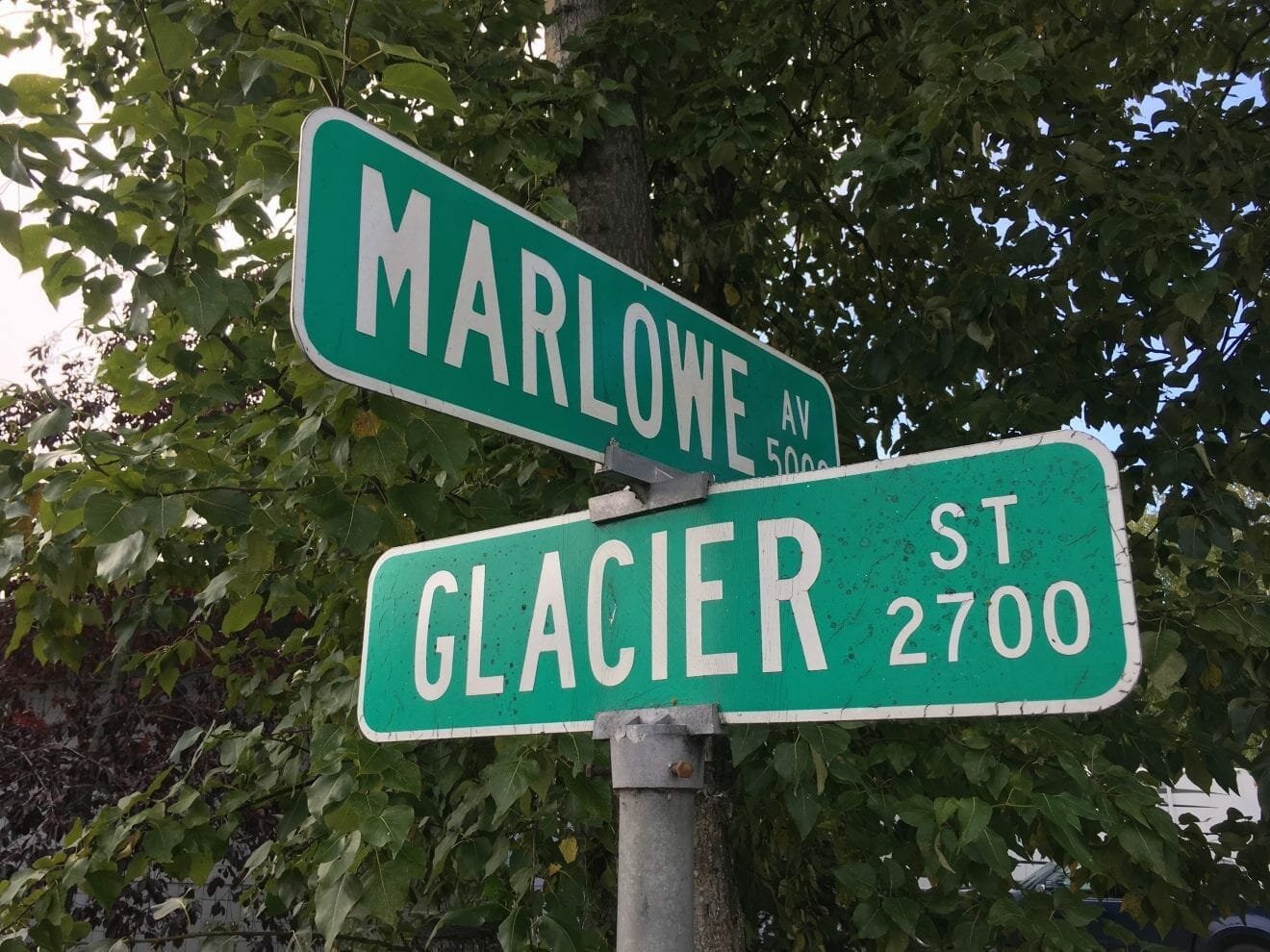 Marlowe's name on a street sign, contributed by mother Bethany