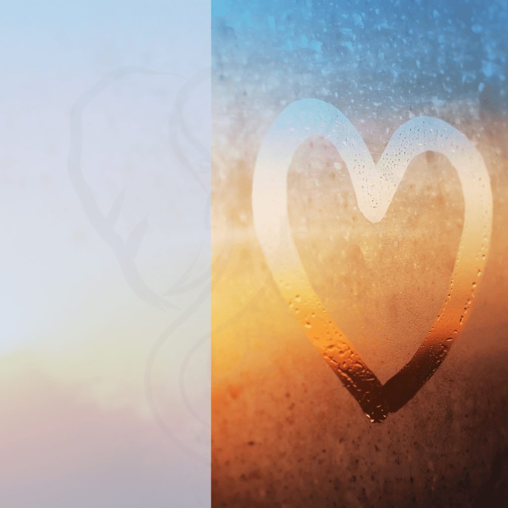 """Heart on misted window""; a heart drawn on window glass, color fading from medium blue through orange into medium red (anyaberkut, Getty Images Pro)"