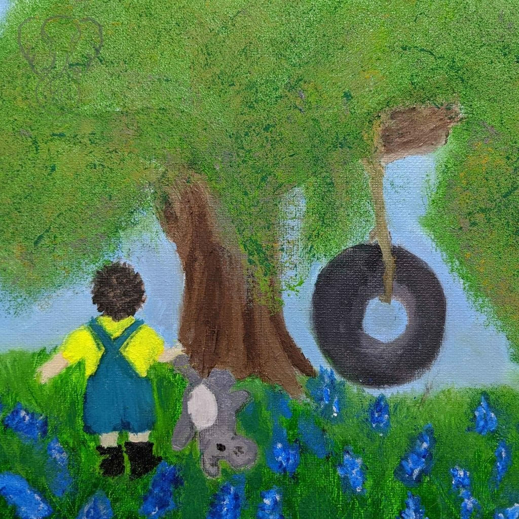 Adrian and his Elephant in a field of bluebonnets (Anna Borden)
