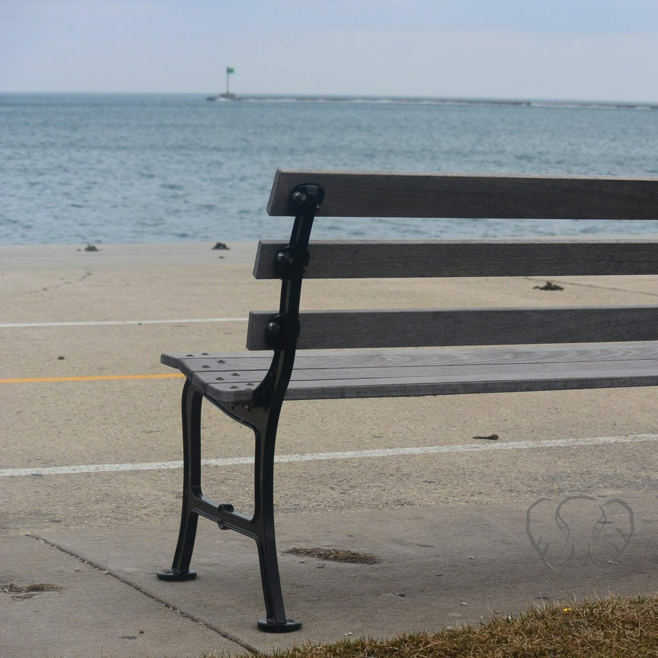 Bench on the shore of Lake Michigan, Chicago (Miranda Hernandez)
