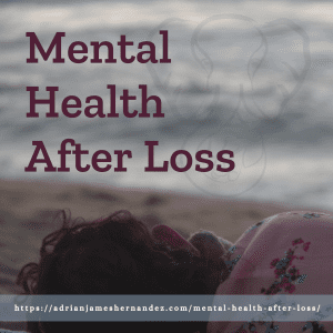 Title: Mental Health After Loss | overlaid on image of Miranda and Adrian's elephant on the California coast (Synch Media)