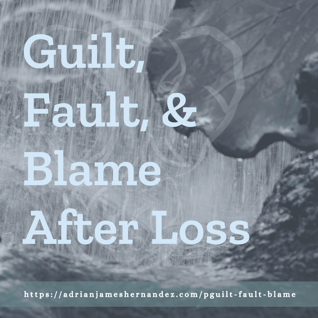 Title: Guilt, Fault, & Blame | overlaid on image of fountain in San Francisco (Miranda Hernandez)