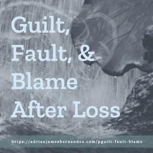 Title: Guilt, Fault, & Blame | overlaid on image of fountain in San Francisco (Miranda Hernandez)