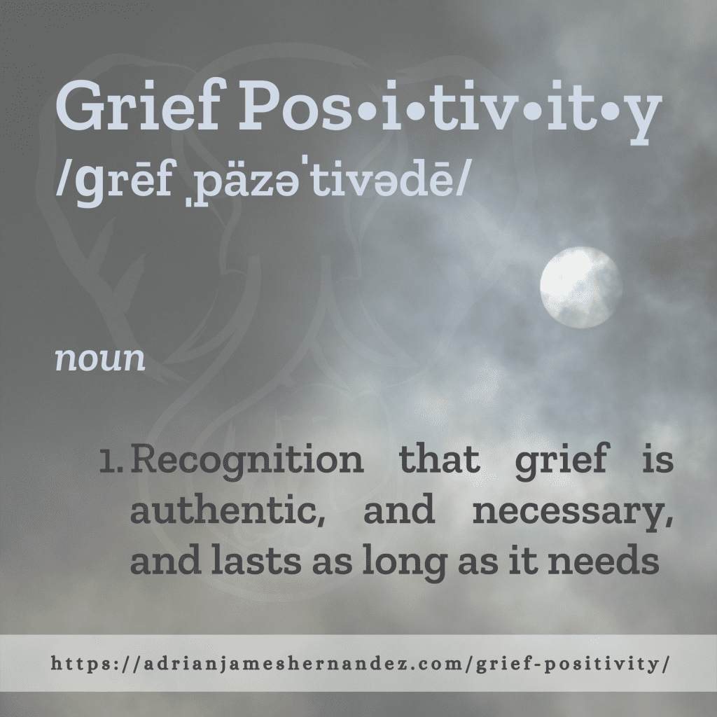 Title: Grief Positivity | overlaid on image of the full moon (Miranda Hernandez)
