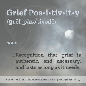 Title: Grief Positivity | overlaid on image of the full moon (Miranda Hernandez)