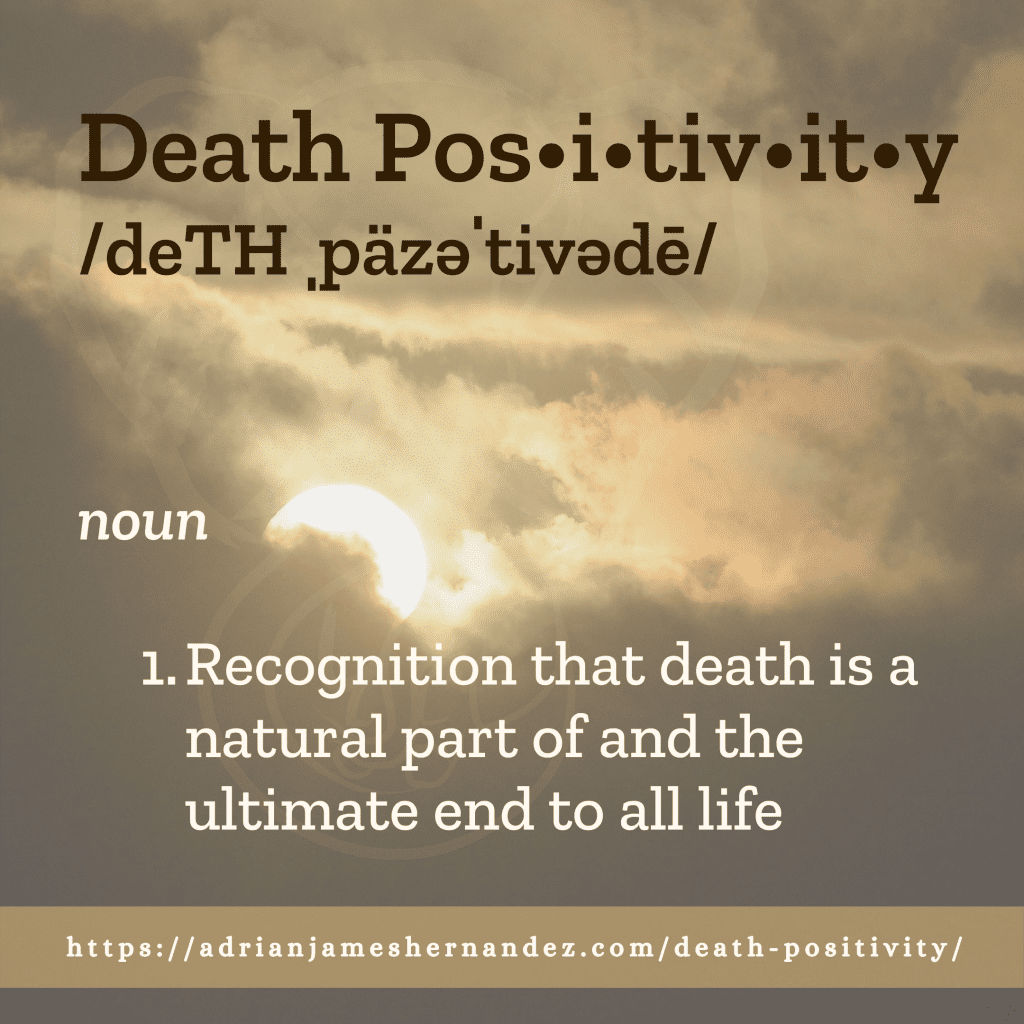 Title: Death Positivity | overlaid on image of sunset over Kaua'i, Hawai'i (Miranda Hernandez)