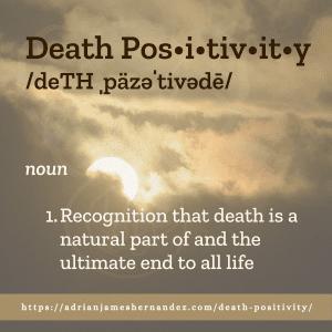 Title: Death Positivity | overlaid on image of sunset over Kaua'i, Hawai'i (Miranda Hernandez)