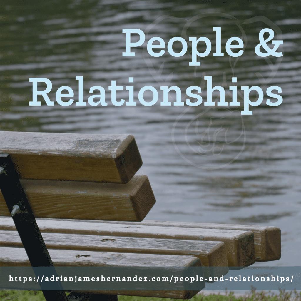 Title: People & Relationships | overlaid on image of bench in Winnipeg, British Columbia (Miranda Hernandez)