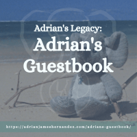 Title: Adrian's Legacy: Adrian's Guestbook | overlaid on image of Adrian's elephant on the beach in Kaua'i, Hawai'i (Miranda Hernandez)