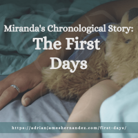 Title: Miranda's Chronological Story: The First Days | overlaid on image of Miranda and her Comfort Cub in bed (Synch Media)