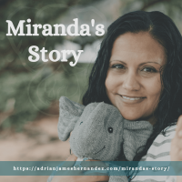 Title: Miranda's Story | overlaid on image of Miranda and Adrian's elephant on the beach in Kaua'i (Luna Kai Photography)
