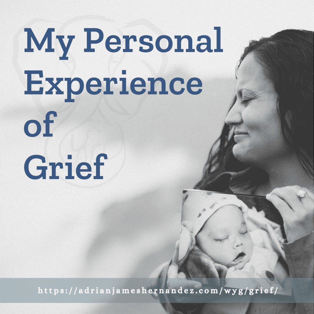 Title: My Personal Experience with Grief   overlaid on an image of Miranda in Kaua'i (Luna Kai Photography)