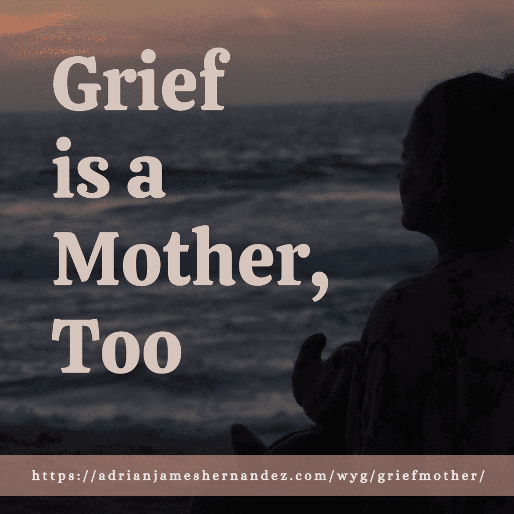 Title: Grief is a Mother, Too | overlaid on an image of Miranda and Elephant on the coast at sunset (Synch Media)