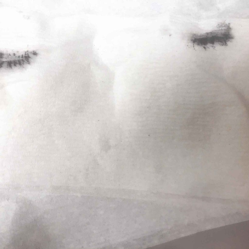 Image of Vivian's mascara left on a tissue