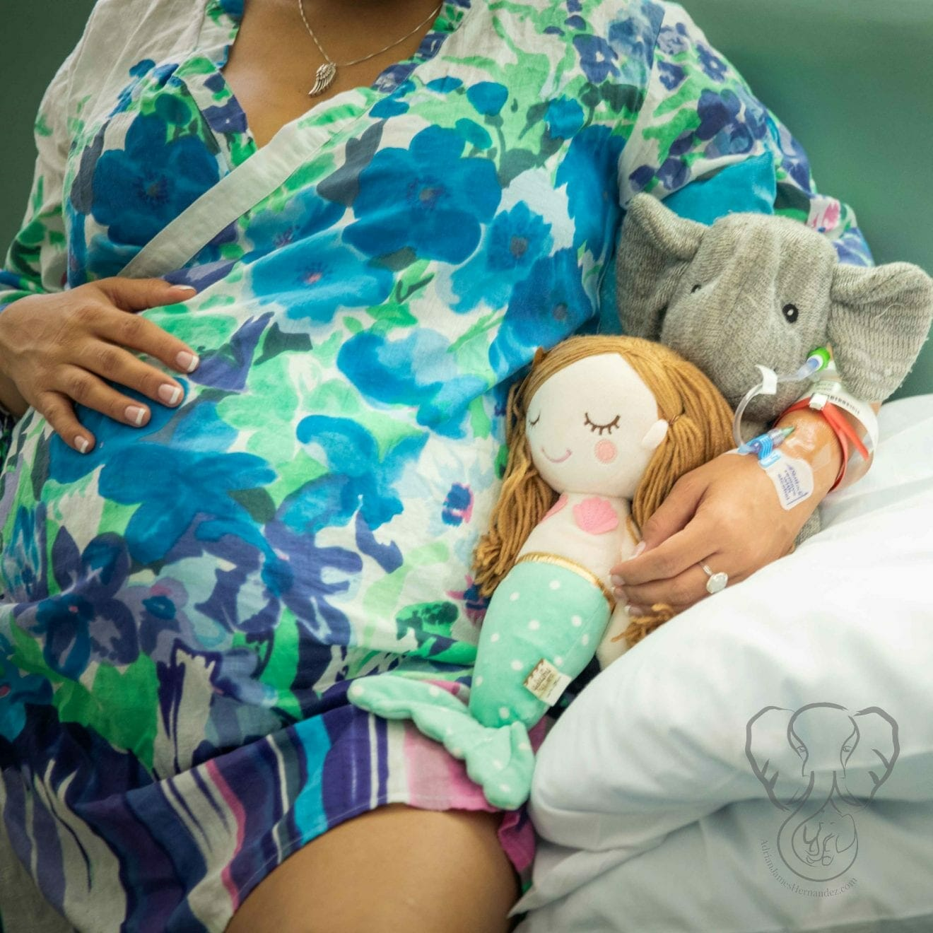 Miranda with Adrian's elephant and Peanut's mermaid in the hospital (Sarah Perry Photography)