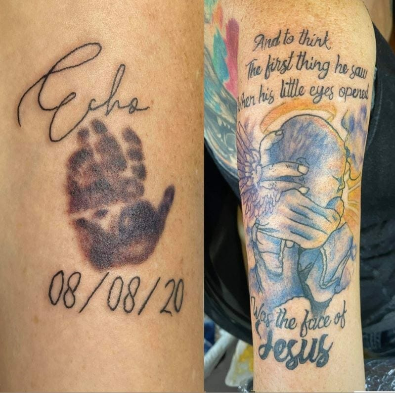 Tattoos in honor of Echo Daniel Rae DeLeon, contributed by mother Karin