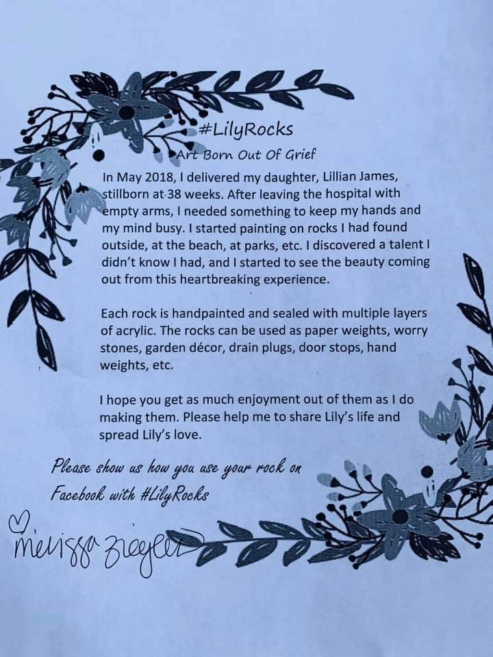 Message to accompany Lillian James' rocks, contributed by mother Melissa