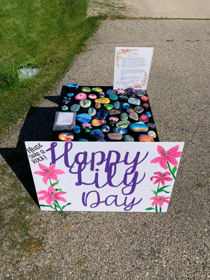 Rocks painted in honor of Lillian James, contributed by mother Melissa