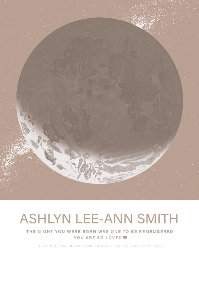 Map of the moon in honor of Ashlyn Lee-ann, contributed by mother Tarls