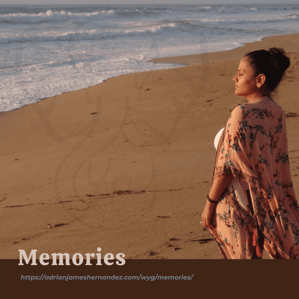 Memories (Write Your Grief)   overlaid on image of Miranda on the California coast at sunset (Synch Media)