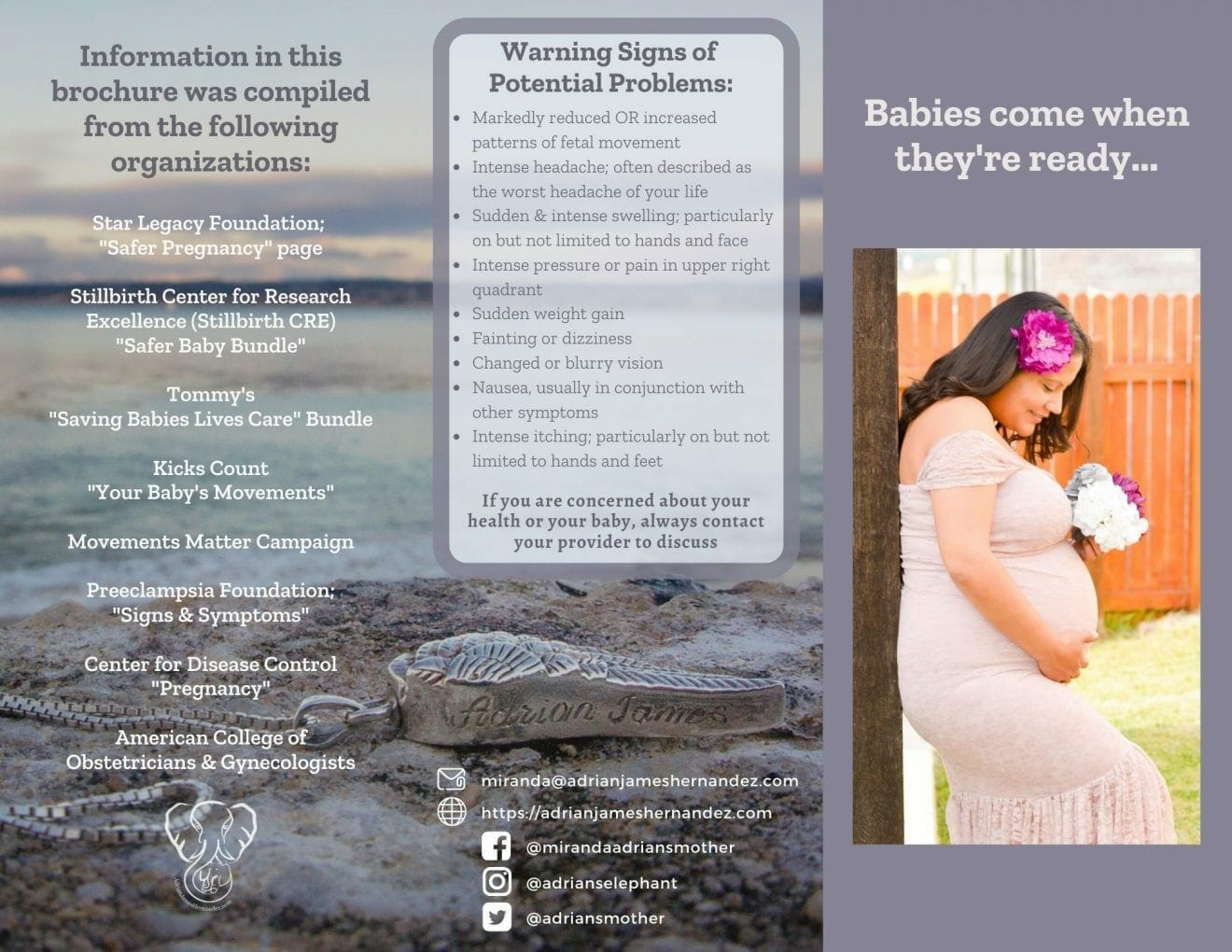 Informed Pregnancy Brochure describing my experience going overdue in pregnancy and outlining risks and warning signs of problems in pregnancy (side 1)