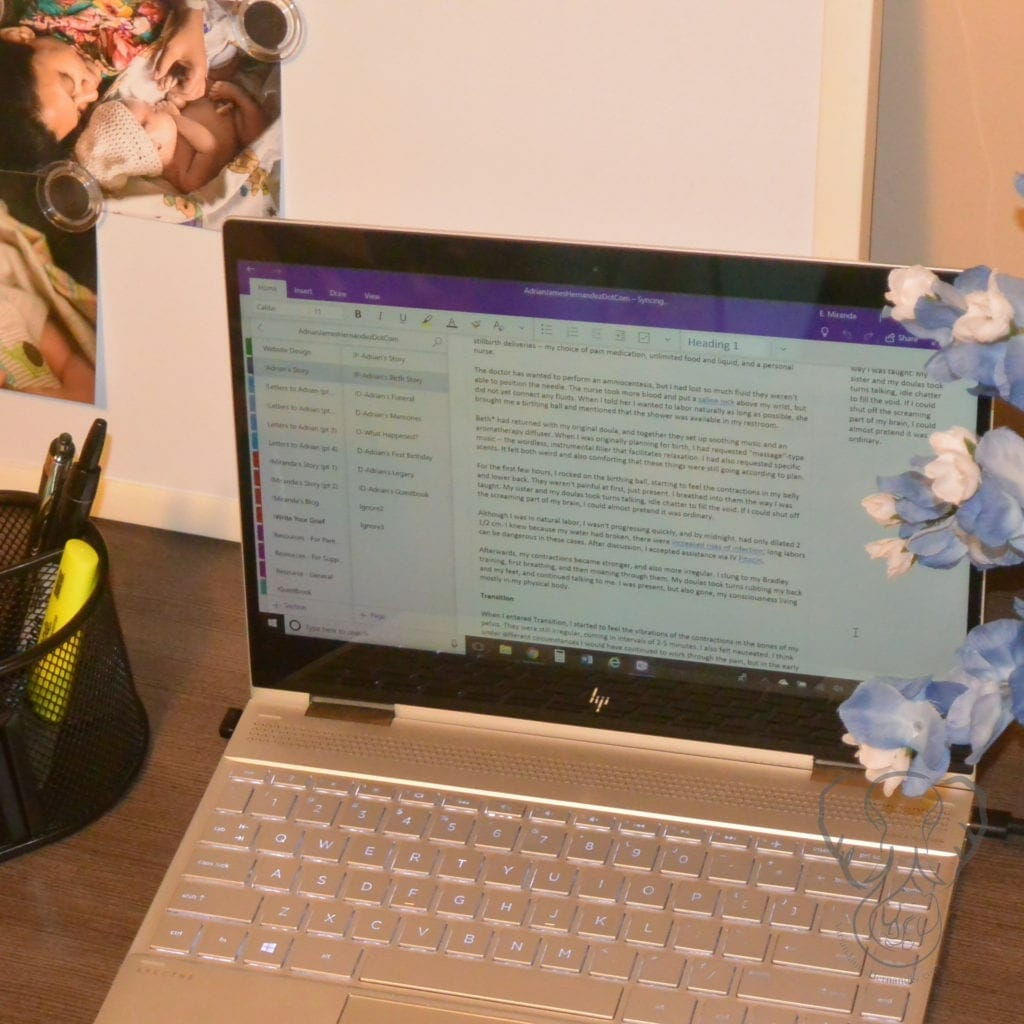 An open laptop on a desk with bluebonnet flowers on the right and photos of a mother and child on the left (Miranda Hernandez)