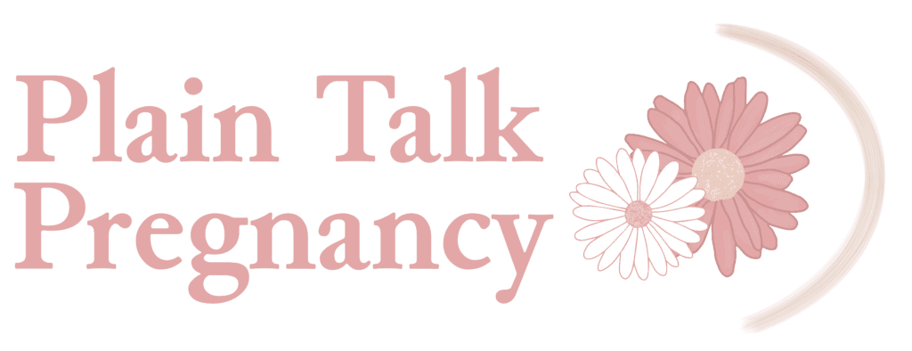 """Plain talk pregnancy primary logo: """"Plain Talk Pregnancy"""" in pink letters next to two daisies: a small white daisy nestled into a larger pink daisy"""