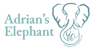 "Adrian's Elephant Primary Logo: ""Adrian's Elephant"" in light-medium green next to the Adrian's Elephant logo of the mama elephant with her trunk wrapped around her baby. The site URL is curved around the bottom of the elephant trunk"