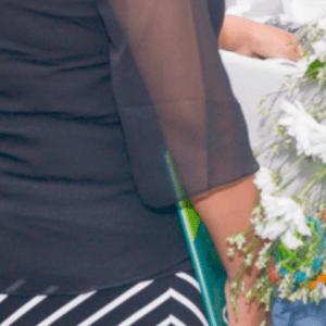 Miranda's black chiffon top and striped black and white skirt on the day of Adrian's funeral (Modern Lux Photographt)