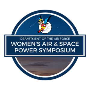 logo of the 2021 Women's Air & Space Power Symposium; image shows a winged cartoon female airman jumping out of the sky into the conference title, on the background of a sunset sky