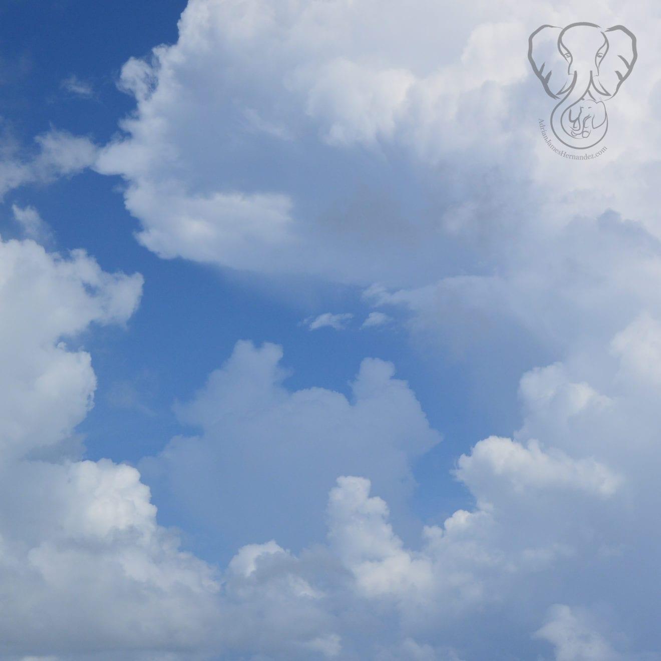 White fluffy clouds in a blue sky in Florida