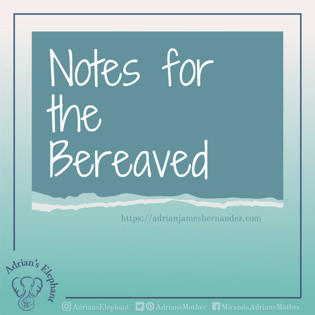 """""""Notes for the Bereaved"""" in white text on a gradient green background"""