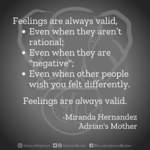 """Feelings are always valid, Even when they aren't rational; Even when they are """"negative""""; Even when other people wish you felt differently.  Feelings are always valid.  -Miranda Hernandez Adrian's Mother"""